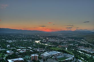 History of Missoula, Montana - View of Missoula, Montana, looking west from Mount Sentinel over the University of Montana toward Downtown Missoula