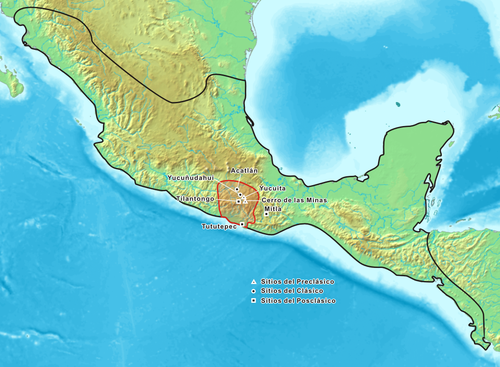 Map showing the historic Mixtec area. Pre-Classic archeological sites are marked with a triangle, Classic sites with a round dot and Post-classic sites with a square. Mixtecs.png