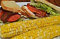 Mmm... buttered sweet corn and a BLT for lunch (7670120520).jpg