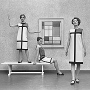 Mondrian dresses by Yves Saint Laurent shown with a Mondrian painting in 1966
