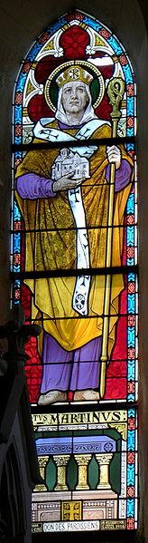 Vitrail de l'église Saint-Martin de Montflours (53). Saint-Martin.