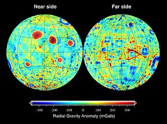 Gravitation of the Moon - Radial gravity anomaly at the surface of the Moon in Gal (acceleration)
