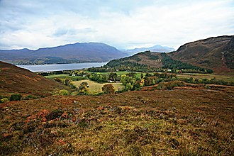 Battle of Coille Bhan - Looking down onto the settlement of Attadale, with Loch Carron in the background