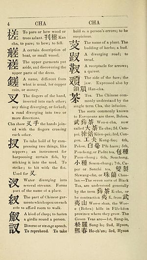 Chinese dictionary - A page from the 1865 reprint of Morrison's Chinese dictionary, the first major Chinese–English dictionary. In this section, words are arranged alphabetically based on Morrison's transcription of Chinese.