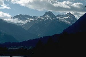 Garibaldi Volcanic Belt - The Mount Meager massif in 1987. Summits left to right are Capricorn Mountain, Mount Meager and Plinth Peak.