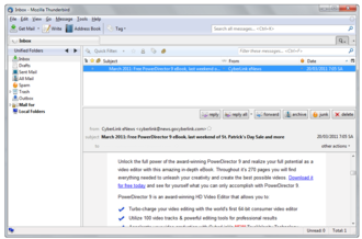 Email - The interface of an email client, Thunderbird.