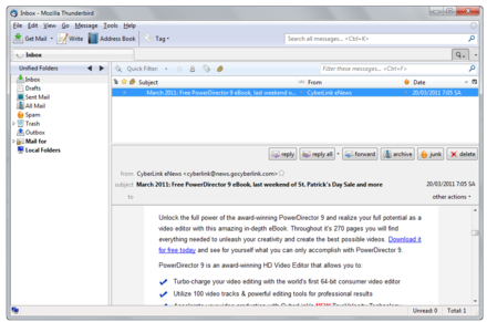 The interface of an email client, Thunderbird. Mozilla Thunderbird 3.1.png