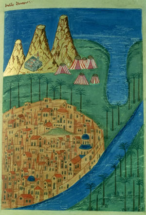 Mount Sinai - Mount Sinai depicted on Georgian manuscript.