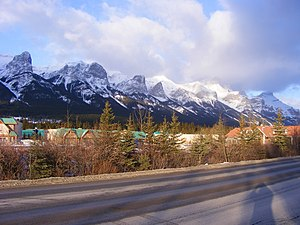 Mount Rundle - The northeast-facing side of the mountain, seen from Canmore. All the peaks seen here are part of Mount Rundle.