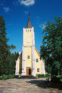 Muhos Church, built in 1634, is the oldest wooden church in Finland still in year-round use.