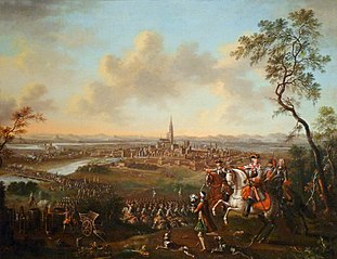 The Duke of Lorraine and escort return to the Rhine in front of Strasbourg