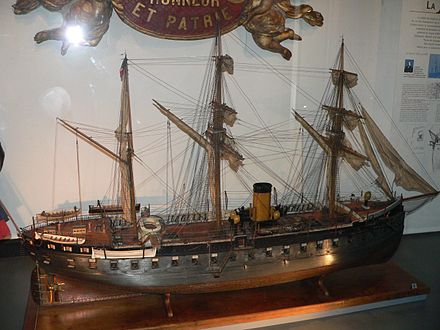 Model of the French Gloire (1858), the first ocean-going ironclad MuseeMarine-cuirasse1880-p1000463.jpg