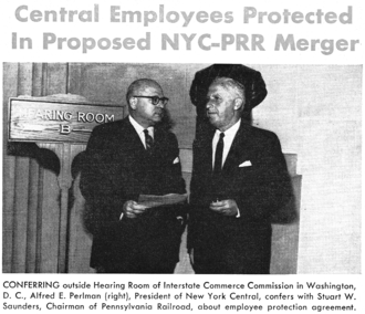 Alfred E. Perlman - Conferring outside Hearing Room of Interstate Commerce Commission in Washington, D.C., Alfred E. Perlman (right), President of New York Central Railroad, confers with Stuart W. Saunders, Chairman of Pennsylvania Railroad, about employee protection agreement.