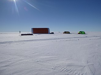 Main drill site for the New Zealand 2017 hot water drill camp on the Ross Ice Shelf NZ Ross Ice Shelf Hotwater Tent.jpg