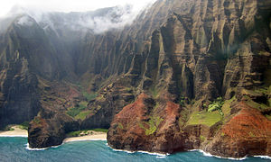 Nā Pali Coast State Park - Honopū Valley, aerial view