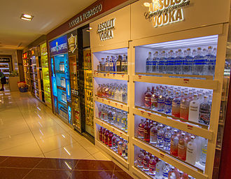 Absolut Vodka - Different flavors of Absolut Vodka on sale at duty-free shop at Nadi International airport, Fiji