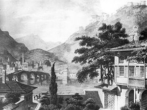 Berat - The city of Berat in 1813, illustration by Charles Cockerelle