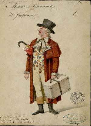 Nicola De Giosa - Costume design for Don Gasperone from the premiere production of Napoli di carnovale
