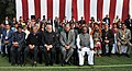Narendra Modi at the function, held to meet NCC Cadets and NSS Volunteers, at Teen Murti Lawns, in New Delhi. The Union Minister for Defence, Shri Manohar Parrikar, the Union Minister for Tribal Affairs, Shri Jual Oram.jpg