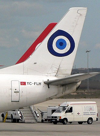 Apotropaic magic - An aeroplane fin with a nazar boncuğu symbol, a stylised eye thought to avert the evil eye