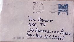 NBC's Tom Brokaw was one of the targets in the first mailing.