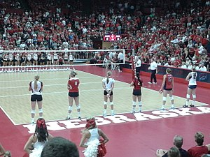 Nebraska Cornhuskers - The Nebraska volleyball team scrimmaged alumni Nebraska volleyball players including Nancy Metcalf and Jordan Larson before the 2013 season.