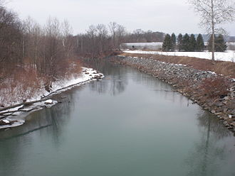 Nescopeck Creek - Nescopeck Creek not far from its mouth, looking downstream