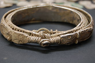 Silverdale Hoard - A nested silver bracelet from the hoard, unusual for its combination of Irish, Anglo-Saxon and Carolingian-style decorative elements