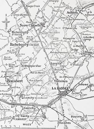 Battle of La Bassée - Neuve Chapelle to La Bassée area, 1914