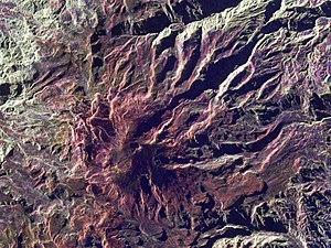 Nevado del Ruiz - Satellite radar image of Nevado del Ruiz, with the deep Arenas crater visible near the summit