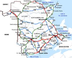 List Of Counties Of New Brunswick Wikipedia - Map of new brunswick canada