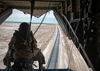 Rail transport in Afghanistan - Rail tracks from the Afghanistan–Uzbekistan Friendship Bridge to the city of Mazar-i-Sharif, seen from a U.S. military helicopter.