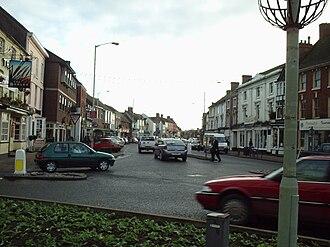 Newport, Shropshire - Newport High Street, Stafford Street roundabout.