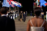 Nicolas Sarkozy and Carla Bruni welcomes by Michelle and Barack Obama.jpg