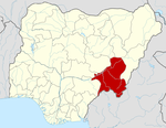 Map of Nigeria highlighting Taraba State