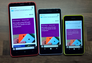 Microsoft Lumia - Microsoft Lumia logo (Top) and various Nokia and Microsoft branded Lumia devices (Bottom). From left to right, the Lumia 1320, the Lumia 535, and the Lumia 530.