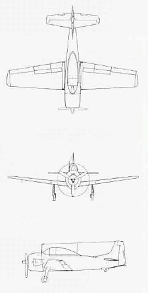 North American XSN2J - Three-view of XSN2J-1