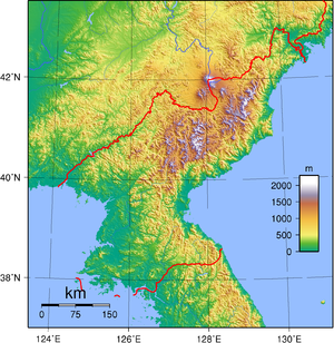 Geography of Korea - Topographic Map of North Korea