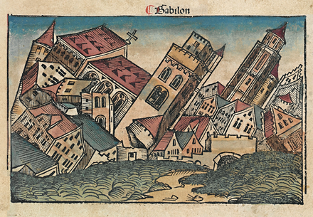 Woodcut in 1493 Nuremberg Chronicle depicting the fall of Babylon. Nuremberg chronicles f 65r 3.png