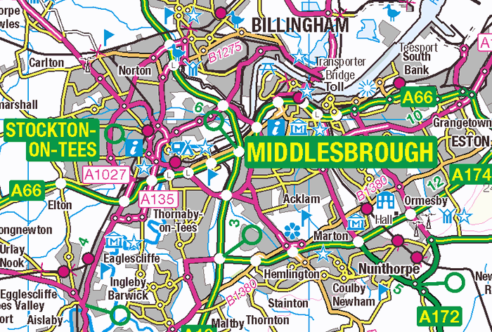 OS map Middlesbrough-Stockton area