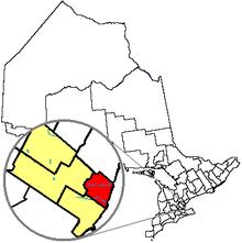Pozicio de Oakville en Ontario