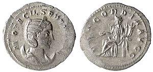 Marcia Otacilia Severa - Silver Antoninianus of Octalia Severa. Ruler/Emperor: Octalia Severa; City/Region: Rome; Denomination: AR Antoninianus; Composition: Silver; Date: AD 247; Obverse: OTACILIA SEVERA AVG, diademed and draped bust right on crescent; Reverse: CONCORDIA AVGG, Concordia seated left with patera and cornucopiae, altar before; Reference: RIC 126, RSC 17