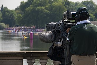 Olympic Broadcasting Services - Olympic Broadcasting Services' cameraman, covering the men's 10 kilometre marathon swim at the 2012 Olympic Games