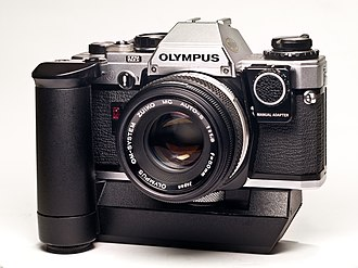 Olympus OM-10 - Olympus OM-10 with winder and manual adapter