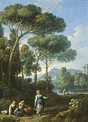 One of a Pair of Views of the Roman Campagna with Figures Conversing