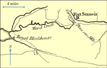 "Map showing an area of 10 by 20 miles. A small portion of a lake is shown to the left; a small fortification is indicated on the shore of the lake that is labeled ""Royal Blockhouse"". A long, meandering creek (labeled Wood Creek) runs from the lake eastward towards the right of the map. At the right of the map there is a fortification that is labeled ""Fort Stanwix"". A river is shown near Fort Stanwix that does not connect to Wood Creek; the unnavigable region is labeled ""Carrying Place one Mile""."
