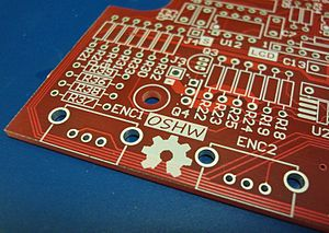Open-source hardware - The OSHW (Open Source Hardware) logo silkscreened on an unpopulated PCB
