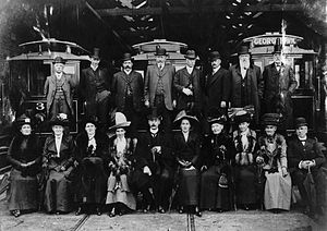 Public transport in Invercargill - Opening of the Invercargill Tramways, with Mayor William Ott seated in the centre of the front row