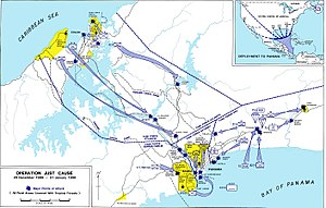 United States invasion of Panama - Tactical map of Operation Just Cause showing major points of attack.