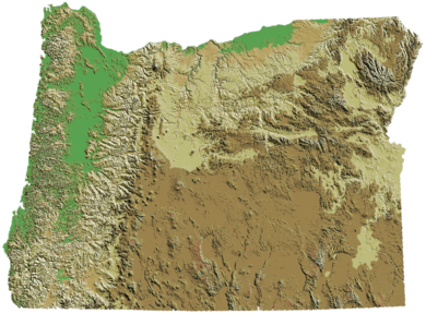 Oregon's topography Oregon DEM relief map.png
